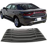 Window Louver Fit For 2015-2018 Dodge Charger | Ikon Style Unpainted Black ABS Rear Vent Cover by IKON MOTORSPORTS | 2016 2017