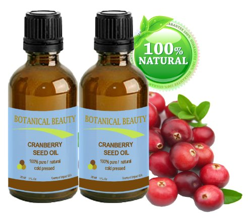 Cranberry Seed Oil 100% Pure / Natural. Cold Pressed / Undiluted. For Face, Hair And Body. 1 Fl.Oz.- 30 Ml. (Pack-2) By Botanical Beauty