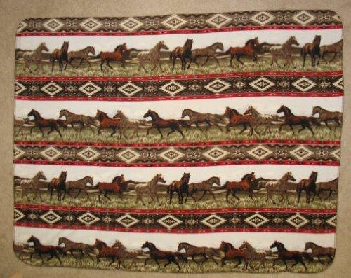 Aztec Horse Fleece Throw Blanket