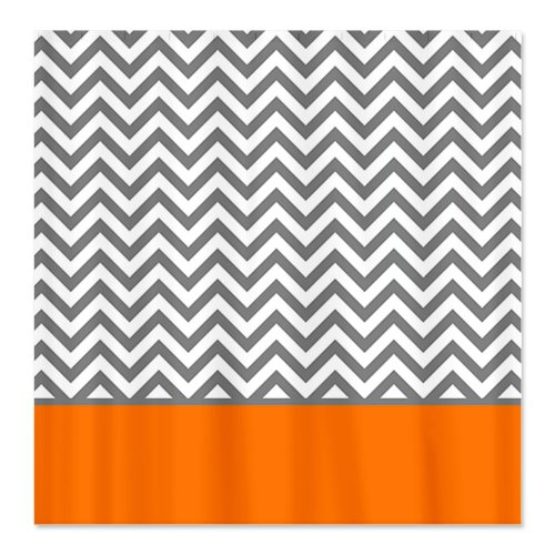 Gray Chevron Pattern Orange Stripe