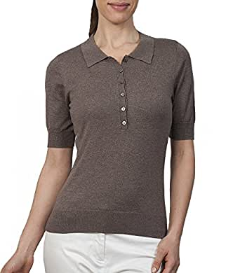 Wool Overs Women's Silk & Cotton Polo Shirt Brown Marl Small