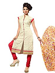 STYLE N DEAL Women's Chanderi Cotton Unstitchced Dress Material (305D1013_Off white_Free Size )