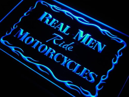 Adv Pro J982-B Real Men Ride Motorcycles Decor Led Light Sign
