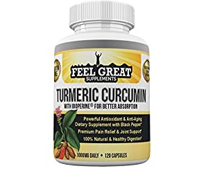 Organic Turmeric Curcumin Capsules with Bioperine®(Black Pepper Extract), Joint Supplement for Joint Pain Relief and Support, 100% Pure Turmeric and Curcumin Root Powder, 1000 mg, 60 day supply