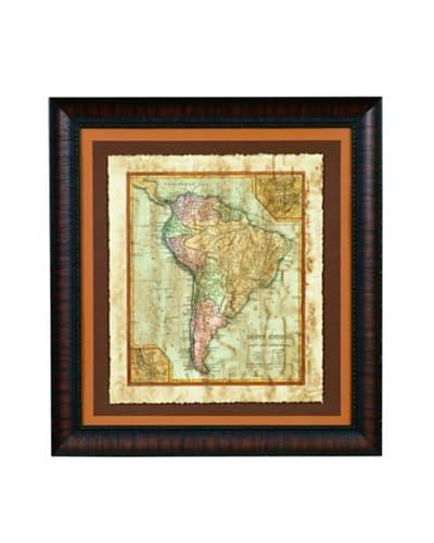 Bassett Mirror Distressed Map II Framed Print
