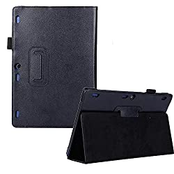 IndiSmack PU Leather Flip Case Cover cum Stand for Lenovo Tab 2 A10-70 A10 10.1 inch Tablet- Black
