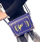 オシャレ かわいい 洋書 風 ブック 型 ワン ショルダー バッグ ゴス ロリ 風 ファッション の アクセント に 最適 (ブルー)