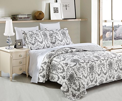 DaDa Bedding Collection Victorian Candelabra Elegant Damask Jacquard Patchwork Quilted Bedspread Set - Bright Vibrant Floral Black & White Print - Cal King - 3-Pieces. (Extra Large King Size Duvet Cover compare prices)