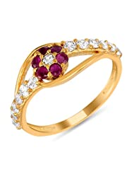 Mahi Ruby & CZ 24K Gold Plated Fashion Finger Ring For Women FR1100305G