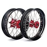 "TARAZON 17"" & 17"" Supermoto Complete Wheel Set Red Hubs Black Rims for Honda CRF250R 04-13 CRF450R 02-12 CRF250X 04-16 CRF450X 04-16 CR125R CR250R 02-13 Front and Rear wheels"