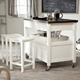 Concord Kitchen Island with Stainless Steel Top and Stools