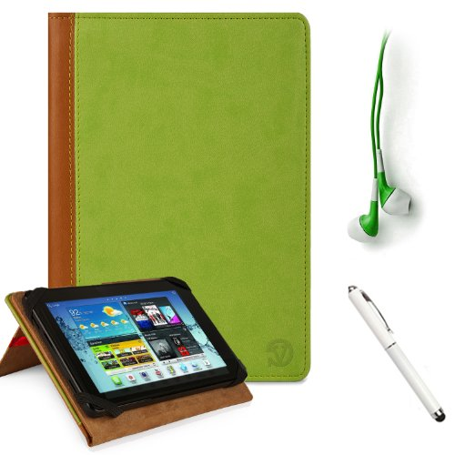 GREEN, TAN Hard Cover Portfolio Jacket Mary Case, Stand Alone, Lightweight, Protective Slimline Sturdy, Flip Folio Book Style Design For Amazon Kindle Fire 7