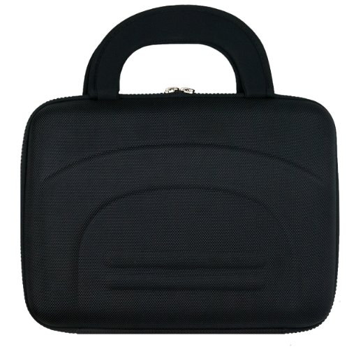 Black Protective Hard Shell Nylon Cube Carrying Case For The Coby Tfdvd7052 7-Inch Portable Tablet Dvd/Cd/Mp3 Player