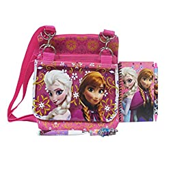 Disney Frozen Anna and Elsa Hot Pink 3 Detachable Layers Shoulder Bag with Stationery Set