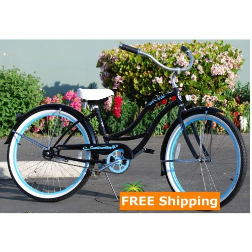 Black Tahiti Ladies Beach Cruiser Bike w/ Baby Blue 26-inch Rims Tires