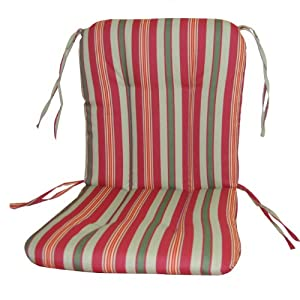 Wrought Iron Chair Cushion-Alex Stripe Pomegranite by LSP Casual Indoor & Outdoor