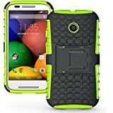 Exact Motorola Moto E Case [TANK Series] - Tough Rugged Dual-Layer Case with Built-in Kickstand for Motorola Moto E (XT1021 / XT1022 / XT1025) Green/Black
