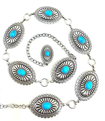 Ariat Women's Oval Turquoise Concho Chain Belt Silver Medium (Concho Belts For Women compare prices)