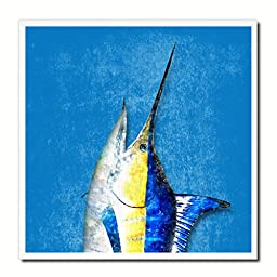 Swordfish Fish Modern Art 14682 Custom Framed Giclee Print on Canvas Nautical Beach Fishing Design Restaurant Home Wall Interior Decoration Souvenir Gift Ideas - Blue 10\