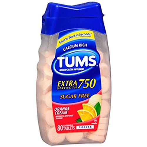 Tums Extra Strength Sugar Free Antacid/Calcium Supplement, Orange Cream 80 Ea