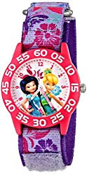 Disney Kids W001185 Fairies Time Teacher Watch with Printed Purple Nylon Band