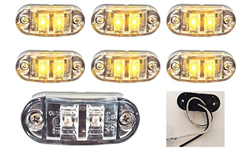 6 NEW 2.6″x1″ CLEAR/AMBER SURFACE MOUNT LED CLEARANCE MARKER LIGHTS 12V FOR TRUCKS CAMPERS TRAILERS RVS EL-112602CA6