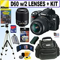 """Nikon D60 10.2MP Digital SLR Camera w/ 18-55mm f/3.5-5.6G AF-S DX """"VR"""" and 55-200mm f/4-5.6G ED IF AF-S DX """"VR"""" Zoom-Nikkor Lens + 8GB Deluxe Accessory Kit"""
