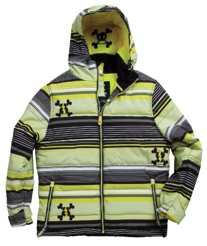 Paul Frank Boy's Stripe Puffy Jacket (Acid,Medium)