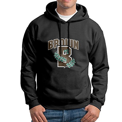 FUOALF Mens Pullover Brown B Logo University Hoodie Sweatshirts Black XL (Kirby 3ds Xl Decal compare prices)