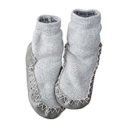 Hanna Andersson Baby Swedish Slipper Moccasins, Size 1 (1), Heather Grey