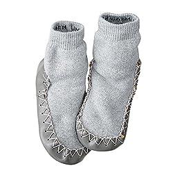 Hanna Andersson Baby Swedish Slipper Moccasins, Size 2 (2), Heather Grey