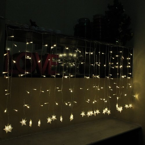 Innootech 144 Led Curtain Lights Warm White Star-Shaped At The End For Party, Wedding,Christmas,And Other Celebration.