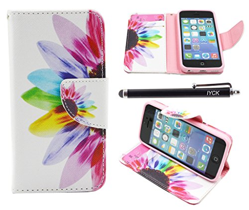 iPhone 5C Case, iPhone 5C Case Wallet, iYCK Premium PU Leather Flip Carrying Magnetic Closure Protective Shell Wallet Case Cover for iPhone 5C with Kickstand Stand - Colorful Flower (Iphone 5c Flower Case Protective compare prices)