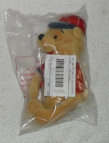 "Disney Winnie the Pooh The Bee Stompers MLB Baseball Pooh Bear 8"" Plush Bean Doll"