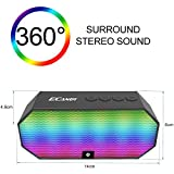 Bluetooth Speakers,Ecandy Portable Wireless Stereo Speaker with LED Lights, Build-in Microphone Support Hands-free Calling for iPhone 6s,6s Plus,5s,Samsung Galaxy S6 Edge,HTC M9,Tablets and More (Black)