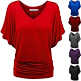 Womens Tops Plus Size Women's Bat Short Sleeve Solid A-Line Blouse Tunic Tops Sleeveless Casual Tee Shirts Clearance
