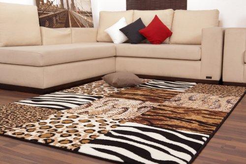 Moderne-Teppiche-Patchwork-Flachflor-Designer-NEU-OVP-Safari-Zebra-Leo-Beige