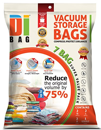 DIBAG ® 7 Bags Pack Vacuum Compressed Storage Space Saver Bags for Clothing, Duvets, Bedding, Pillows, Curtains & More. 2x Medium (57x45 cm), 2x Large (85x54 cm), 2x Extra Large (100x67 cm), 1x Travel (57x45 cm) Without Suction or Valve. (Clothing Vacuum Bags compare prices)