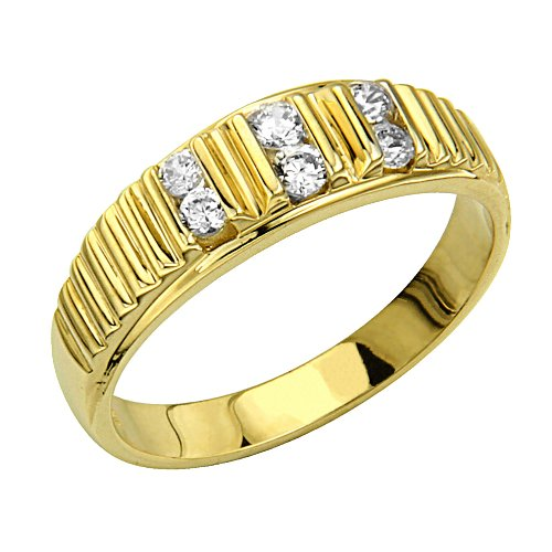 14K Yellow Gold CZ Cubic Zirconia High Polish Finish Men's Wedding Ring Band (Size 8 to 13) - Size 13