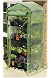 Happy Planter 4-Tier Portable Greenhouse with Four Steel Shelves and Anti UV PE Mesh Cover, Mini