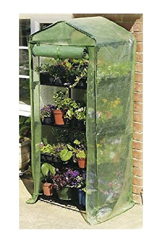 Happy Planter 4-Tier Portable Greenhouse with Four Steel Shelves and Anti UV PE Mesh Cover, Mini (Mini Storage Shed compare prices)