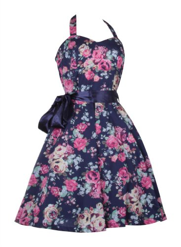 Cute Floral Vintage 50s 60s Rockabilly Swing Prom Summer Short Cocktail Dresses Cotton Ladies Women Navy with flowers roses UK 6