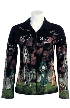"Jess N Jane ""Bow Wow"" French Terry Ladies Rhinestone Bling Zipper Jacket-1x(Black)"