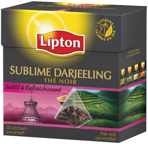 Lipton, The noir darjeeling pyramid, la boite de 20 sachets