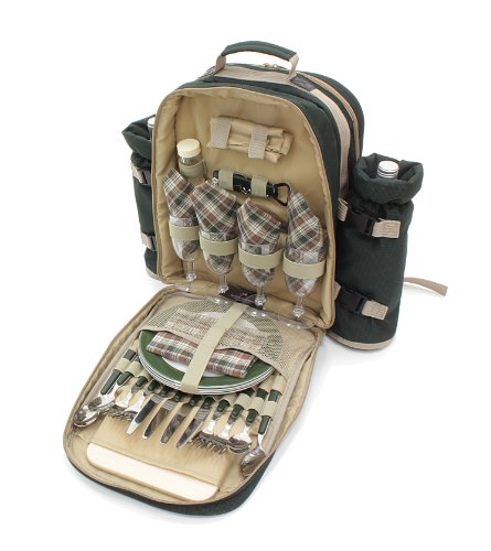 Greenfield Collection Luxury Four Person Picnic Backpack - Forest Green