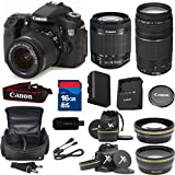 Canon 70D Digital SLR Camera with EF-S 18-55mm f/3.5-5.6 IS STM Lens + 75-300mm III Zoom + XIT Wide Angle + XIT Telephoto + High Speed 16GB Memory Card + 8pc Bundle - International Version