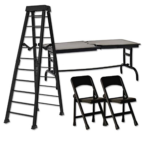 ULTIMATE-Ladder-Table-Chairs-Black-Playset-for-Wrestling-Action-Figures