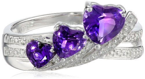 10k White Gold Triple Heart Amethyst Crisscross Diamond (0.02cttw, I-J Color, I2-I3 Clarity) Ring, Size 8