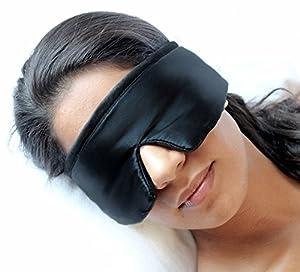 Masque de Nuit et Sommeil DORMIDO de Fedano - Excellente qualité: Coton biologique et vraie SOIE - Noir - Supérieur Masque de Yoyage pour homme et femme - Fait en Allemagne