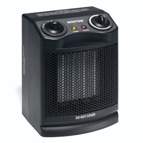 Boston Ceramic Space Heater with Fan, Black (25962)